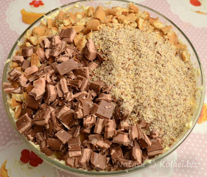Tort cu pișcoturi și ciocolată Milka crema